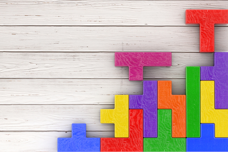 Logical Thinking Concept. Different Colorful Shapes Wooden Blocks on a wooden plank background. 3d Rendering