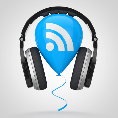 Headphones over Balloon with RSS Podcast Logo Icon on a white background. 3d Rendering