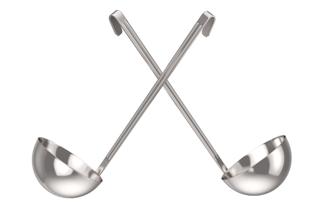 Silver Stainless Steel Kitchen Soup Ladle on a white background. 3d Rendering