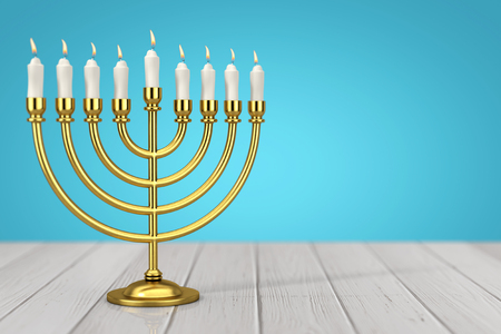 Retro Golden Hanukkah Menorah with Burning Candles on a wooden table. 3d Rendering Stock Photo