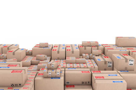 Logistics Concept. Stack of Cardboard Boxes in Warehouse on a white background. 3d Rendering