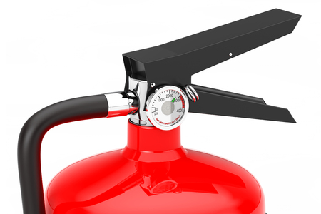 Red Fire Extinguisher extreme closeup on a white background. 3d Rendering