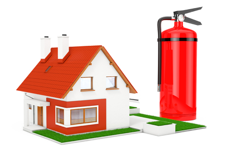 Fire-Prevention Protection of House. Red Fire Extinguisher near Modern Cottage House with Red Roof and Green Grass on a white background. 3d Rendering Stock Photo