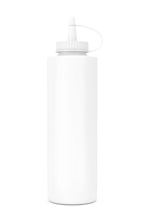 White Blank Mayonnaise Sauce Bottle on a white background. 3d Rendering