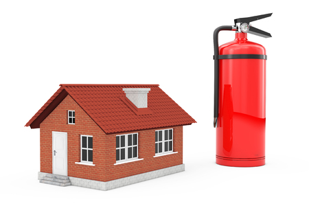 Fire-Prevention Protection of House. Red Fire Extinguisher near House on a white background. 3d Rendering