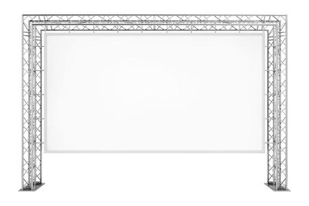 Banner per esterni pubblicità in bianco sul sistema di costruzione di capriate metalliche su sfondo bianco. Rendering 3D