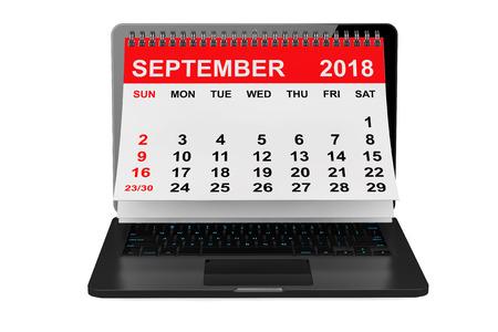 2018 year calendar. September calendar over laptop screen on a white background. 3d rendering