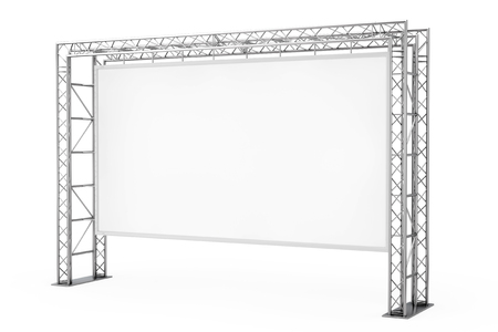 Blank Advertising Outdoor Banner on Metal Truss Construction System on a white background. 3d Rendering