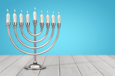 Retro Silver Hanukkah Menorah with Burning Candles on a wooden table. 3d Rendering