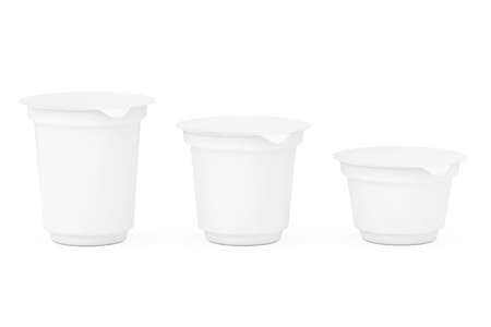 Blank White Packaging Containers for Yogurt, Ice Cream or Dessert on a white background. 3d Rendering