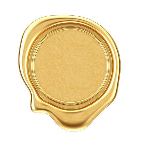 Gold Wax Seal with Blank Space for Your Design on a white background. 3d Rendering