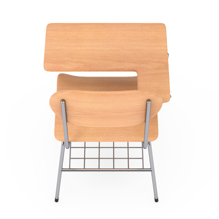 Wooden Lecture School or College Desk Table with Chair on a white background. 3d Rendering