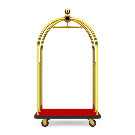 Golden Luxury Hotel Luggage Trolley Cart on a white background. 3d Rendering Banco de Imagens