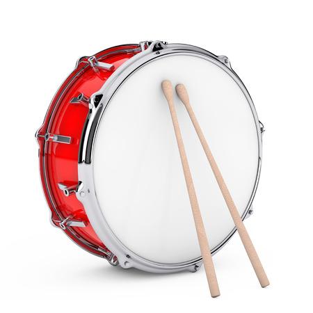 Rode basdrum met paar drumstokken op een witte achtergrond. 3D-weergave