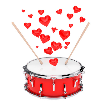 Red Bass Drum with Pair of Drum Sticks and Red Hearts on a white background. 3d Rendering