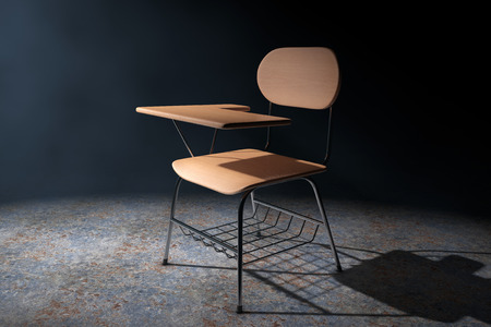 Wooden Lecture School or College Desk Table with Chair in the Volumetric Light on a black background. 3d Rendering