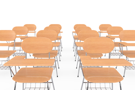 Rows of Wooden Lecture School or College Desk Tables with Chairs on a white background. 3d Rendering Stock Photo