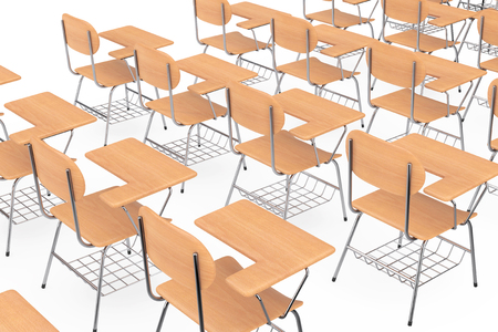 Rows of Wooden Lecture School or College Desk Tables with Chairs on a white background. 3d Rendering Stock Photo - 106844291