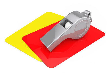 Classic Metal Coaches Whistle over Red and Yellow Cards on a white background. 3d Rendering
