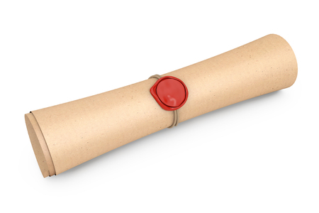Old Rolled Paper with Seal with Sealing Wax on a white background. 3d Rendering