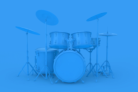 Abstract Blue Clay Style Professional Rock Black Drum Kit on a blue background. 3d Rendering Imagens
