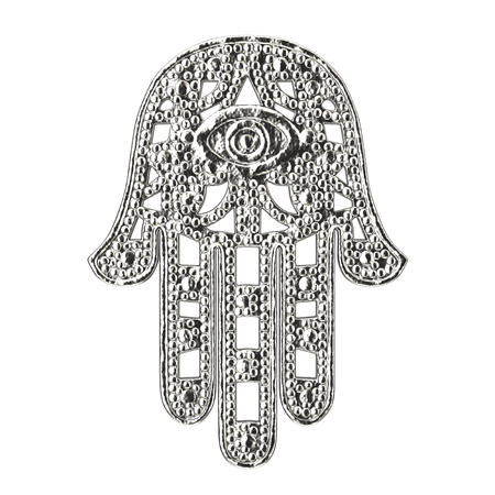 Silver Hamsa, Hand of Fatima Amulet Symbol on a white background. 3d Rendering