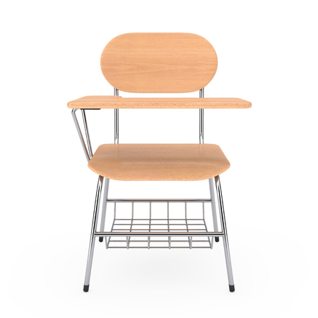 Wooden Lecture School or College Desk Table with Chair on a white background. 3d Rendering Stock Photo - 106857145