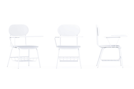 White Lecture School or College Desk Table with Chair in Clay Render Style on a white background. 3d Rendering