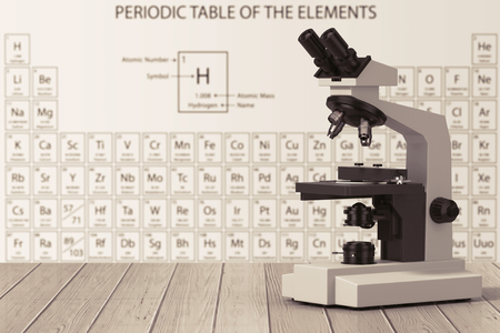 Modern Laboratory Microscope in front of Periodic Table of Elements on a wooden table. 3d Rendering