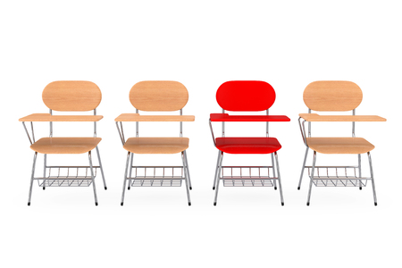 A Single Red Chair in Row of Wooden Lecture School or College Desk Table with Chairs on a white background. 3d Rendering Stock Photo - 106857270