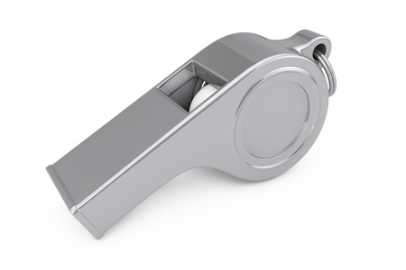 Classic Metal Coaches Whistle on a white background. 3d Rendering