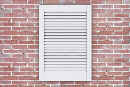 White Plastic Air Ventilation Grille Window on a brick wall. 3d Rendering Stock Photo