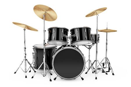 Professionele Rock Black Drum Kit op een witte achtergrond. 3D-weergave