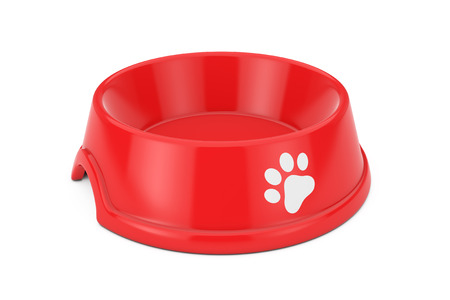 Empty Red Plastic Bowl for Dog, Cat or other Pets on a white background. 3d Rendering Standard-Bild - 109473840