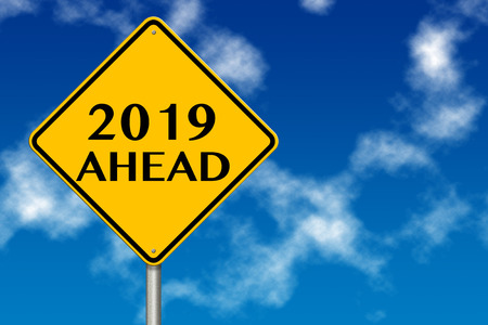 2019 year Ahead traffic sign on a blue sky background. 3d rendering Stock Photo