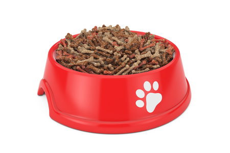 Dry Pet Food in Red Plastic Bowl for Dog, Cat or other Pets on a white background. 3d Rendering Standard-Bild - 109473856