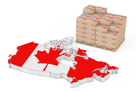 Canada  Logistics Concept. Cardboard Boxes on a Wooden Palette near Canada Map with Flag on a white background. 3d Rendering