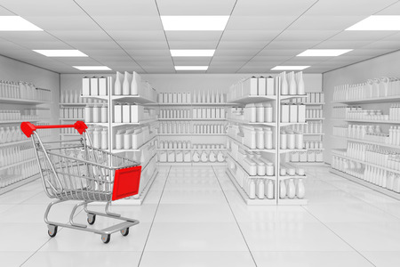 Shopping Cart near Market Shelving Rack with Blank Products or Goods in Clay Style as Supermarket Interior extreme closeup. 3d Rendering.