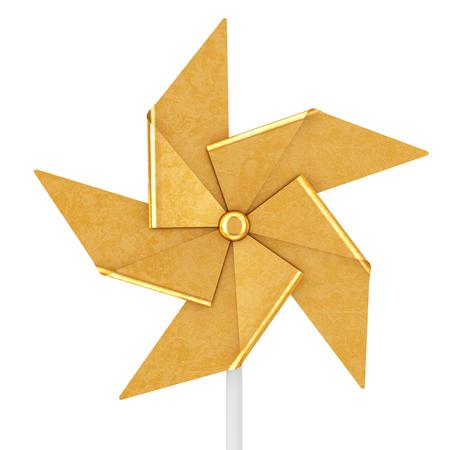 Golden Pinwheel Toy on a white background. 3d Rendering Reklamní fotografie - 109473949