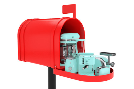 Kitchen Appliances Set in Red Mailbox on a white background. 3d Rendering
