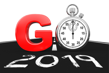 New 2019 Year Concept. Stopwatch as Go Sign over 2019 New Year Road on a white background. 3d Rendering