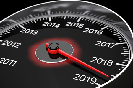 Conceptual 2019 New Year Speedometer on a black background. 3d Rendering