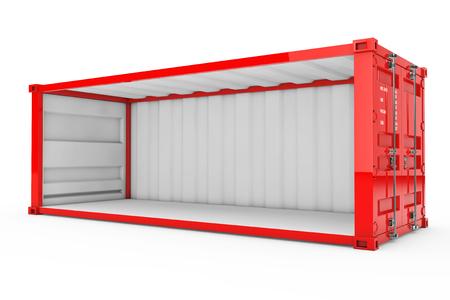Lege rode verzendcontainer met verwijderde zijwand op een witte achtergrond. 3D-weergave.