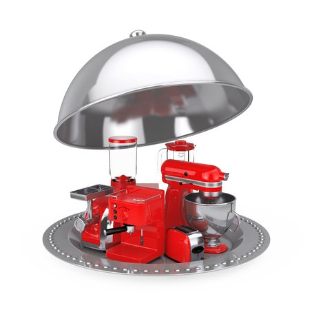 Kitchen Appliances Set. Red Blender, Toaster, Coffee Machine, Meat Ginder, Food Mixer and Coffee Grinder with Silver Restaurant Cloche on a white background. 3d Rendering