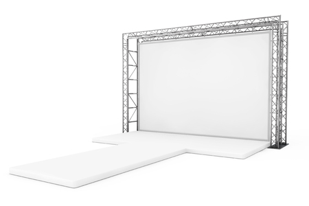Blank Advertising Outdoor Banner on Metal Truss Construction System with Empty Podium on a white background. 3d Rendering Stock Photo