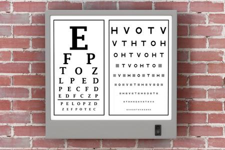 Snellen Eye Chart Test Light Box in front of brick wall. 3d Rendering