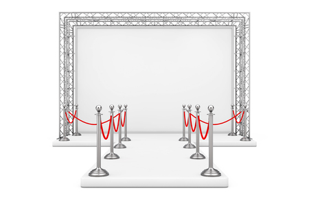 Barrier Rope Around Blank Advertising Outdoor Banner on Metal Truss Construction System with Empty Podium on a white background. 3d Rendering Stock Photo