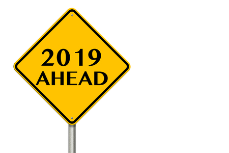 2019 year Ahead traffic sign on a white background. 3d rendering