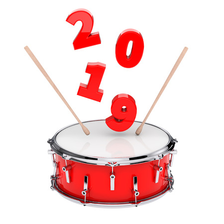 Red Snare Drum with Pair of Drum Sticks and 2019 New Year Sign on a white background. 3d Rendering