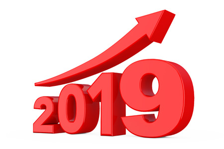 Progress Arrow in New 2019 Year Sign on a white background. 3d Rendering Stock Photo